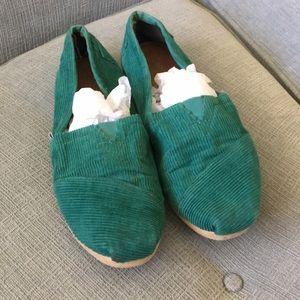 Toms Green Corduroy Slip On Flats